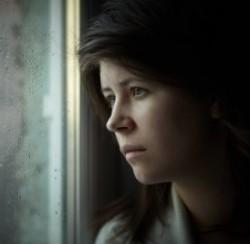 depressed woman staring