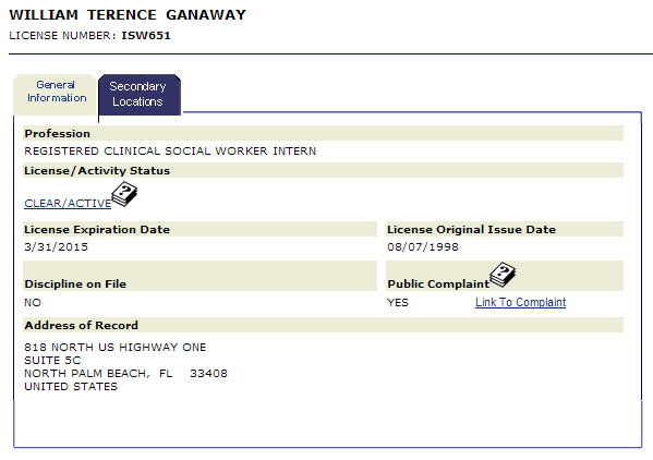 terry ganaway license status
